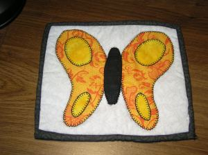 Completed butterfly potholder