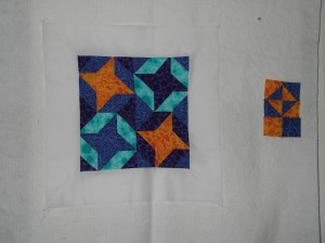 Finished front and part of back of friendship star mini quilt