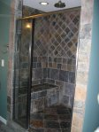 Awesome shower, walk in, tiled, two shower heads