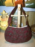 Red and brown paisley purse
