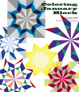 Coloring January Lucky Stars Blocks