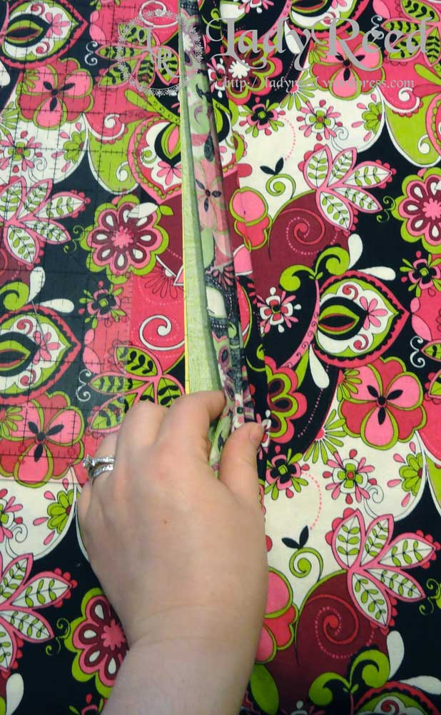Pinning right sides of fabric together while cutting