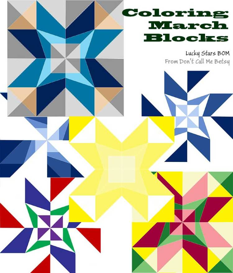 Coloring March Blocks Lucky Stars