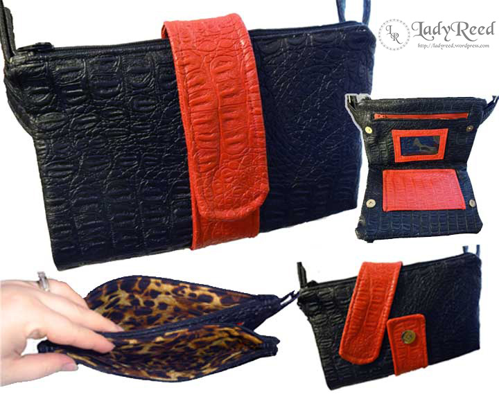 Butterfly Sling Purse - Black and Red Drama